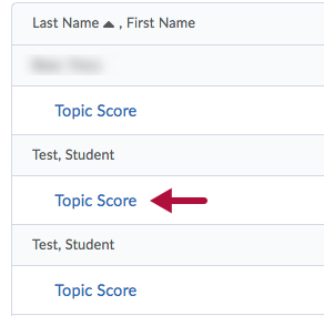 Topic Score link on Assess Topic page