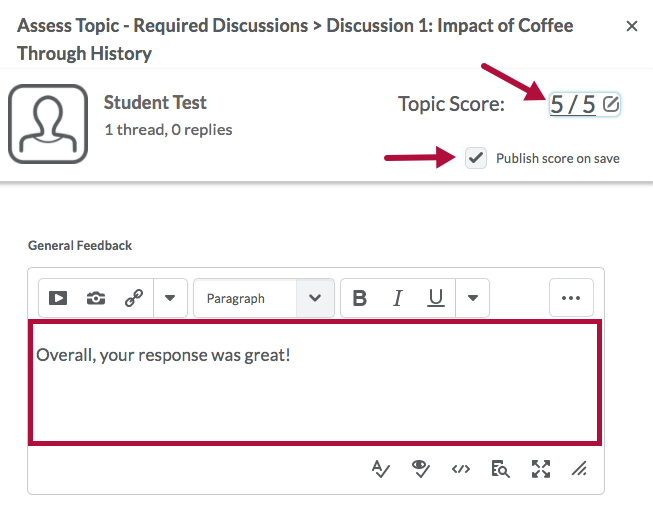 Assess Topic window