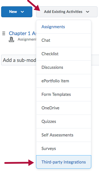 Third-party Integrations option on Add Existing Activities menu