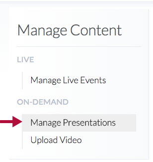 Manage Presentations option in Capture Central