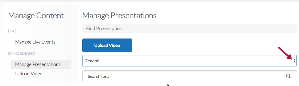 Choose folder option under Manage Presentations