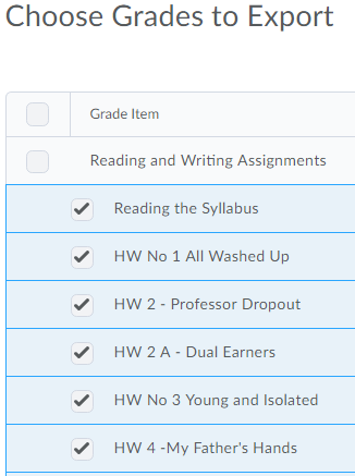 Shows where to choose grades to export.