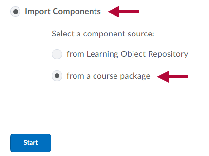 Image shows Import Component options.