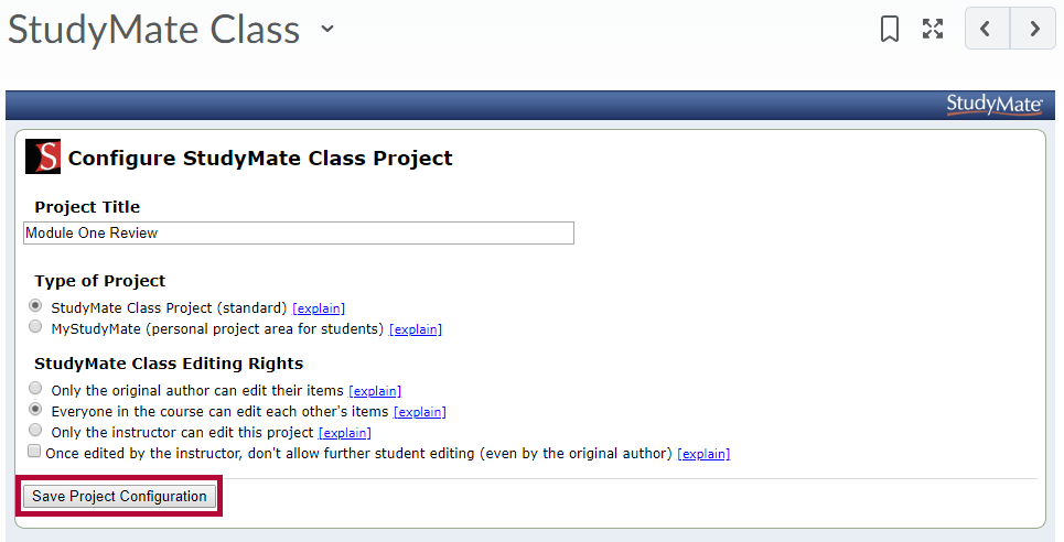 Image shows StudyMate Class project configuration options.