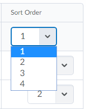Shows sort order options.