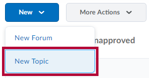 Image shows where to find New Topic link.