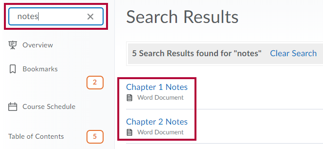 Identifies the Search field and Identifies two items in results.
