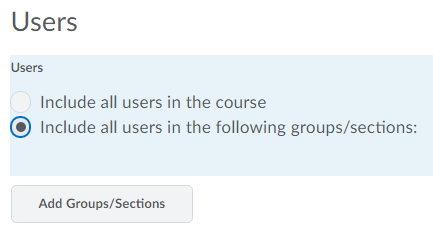 Shows all users in groups/sections option selected.