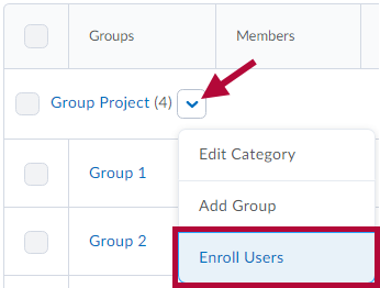 Location of Enroll Users link