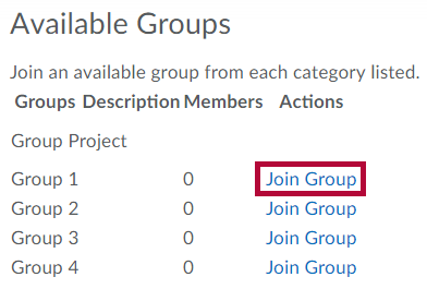 Location of Join Group button