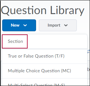 Question Library menu options