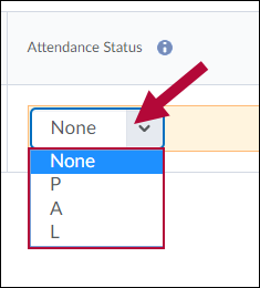 Attendance Status drop-down list