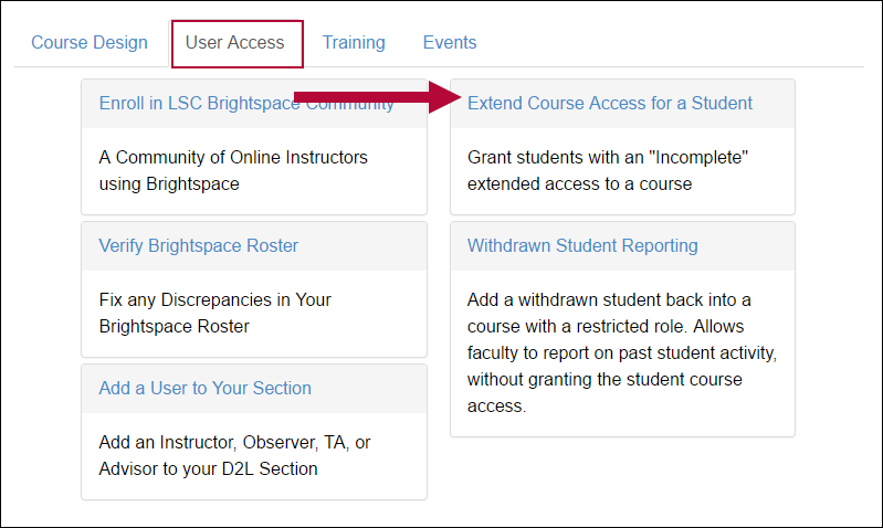 Indicates Extended Course Access for a Student