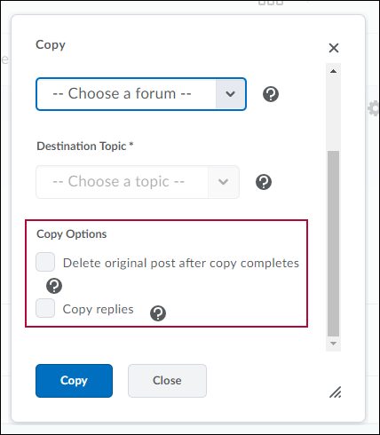 Copy forum options.