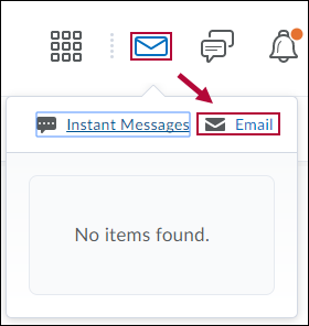 Indicates Email icon in D2L Minibar.
