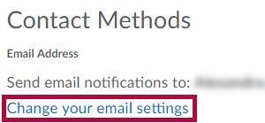 Identifies the Change your email settings link.