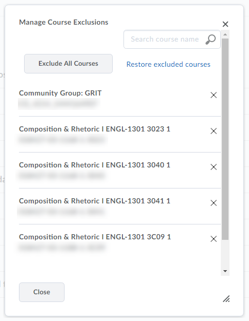 Shows courses to select for exclusion