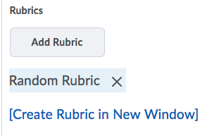 Shows Rubric options