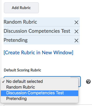 Shows the Default Scoring Rubric.