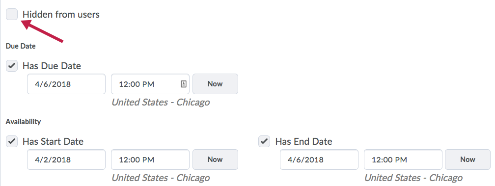 Shows Availability options