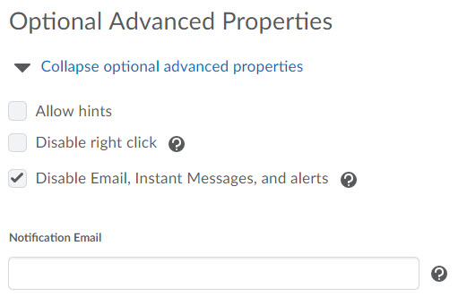Shows Optional Advanced Properties