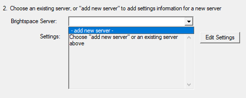 Shows 'add new server' selection
