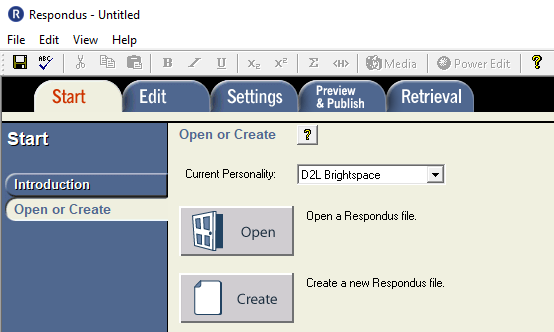 Displays Open or Create buttons in Respondus