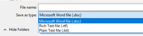 Identifies the file types to choose from when saving.