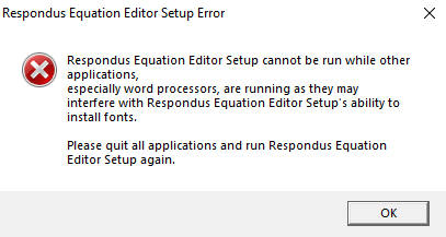 Shows the Equation editor error.