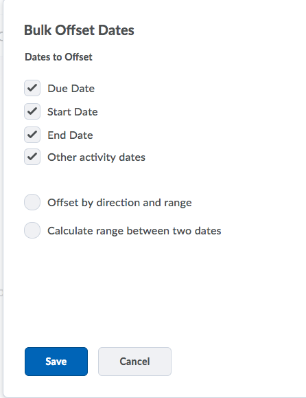 Shows Bulk Offset Dates options