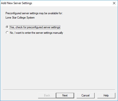 Displays selection for preconfiured server settings