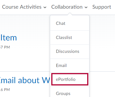 Identifies the ePortfolio link in Collaboration menu