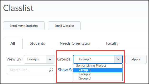 Classlist displaying Groups and Sections options.