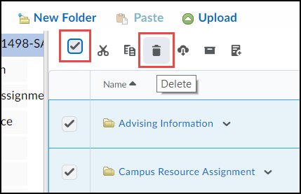 Manage Files screen highlighting the select all option and delete icon.