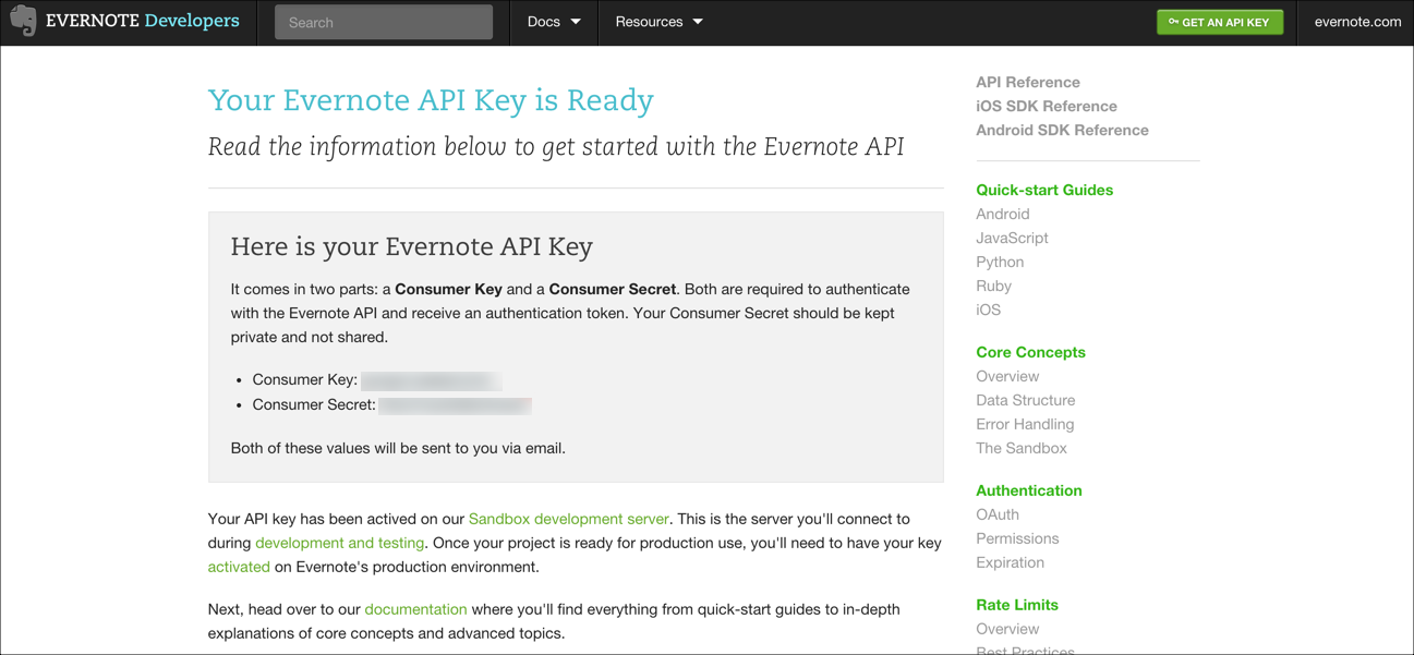 Evernote Connected App step 3