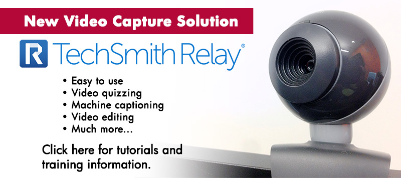 New Video Capture Solution: TechSmith Relay.  Click here for tutorials and training information.