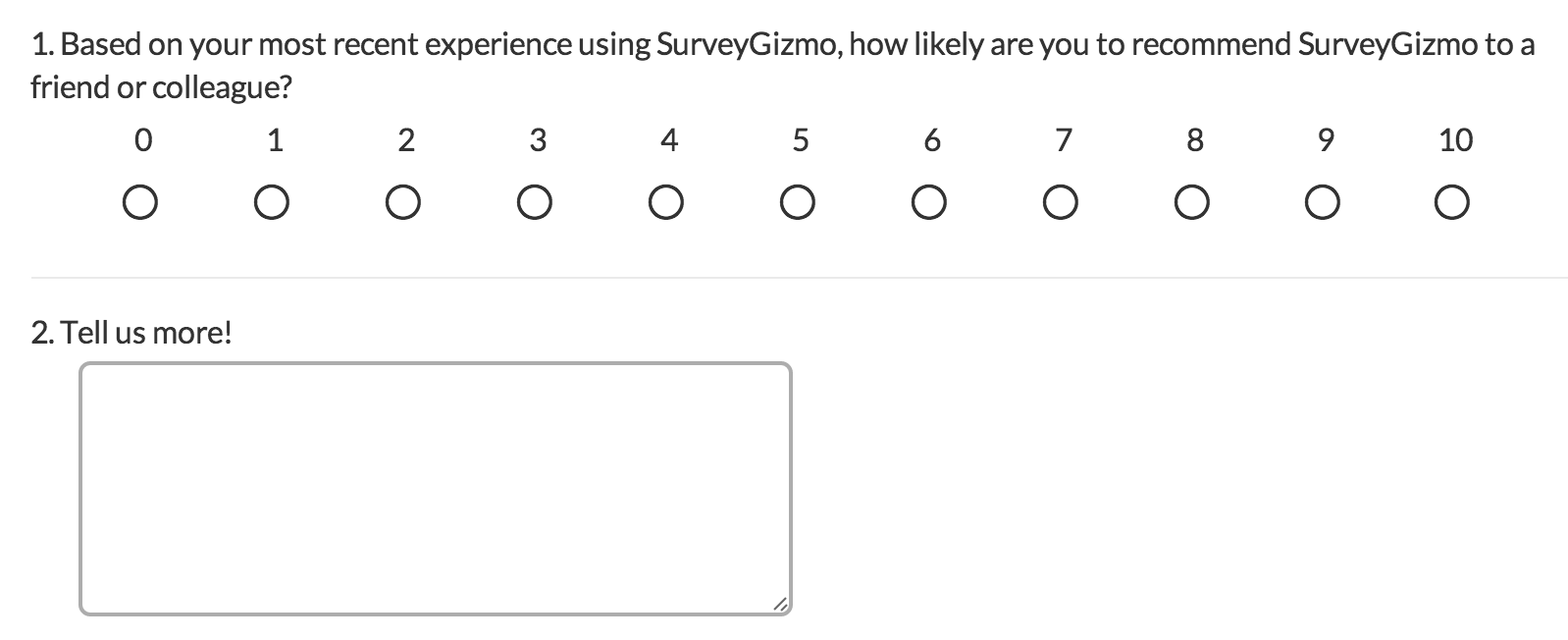 Net promoter score question type surveygizmo help for Net promoter score survey template