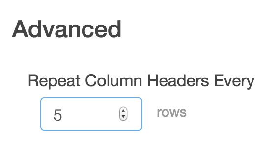 Repeat Column Headers Option for Large Grids