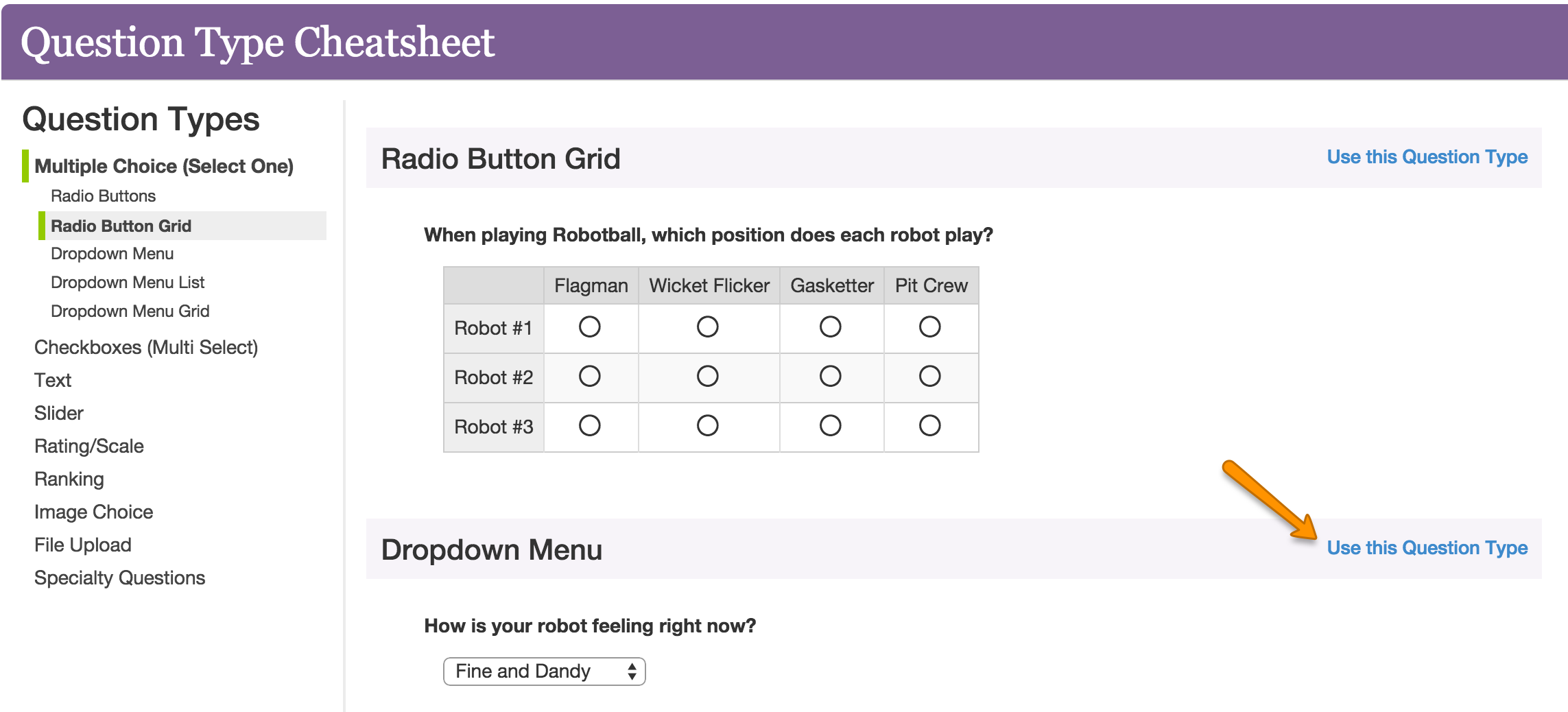 need help choosing your question type surveygizmo help
