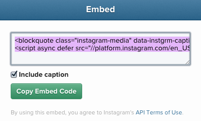 Copy Instagram Embed Code