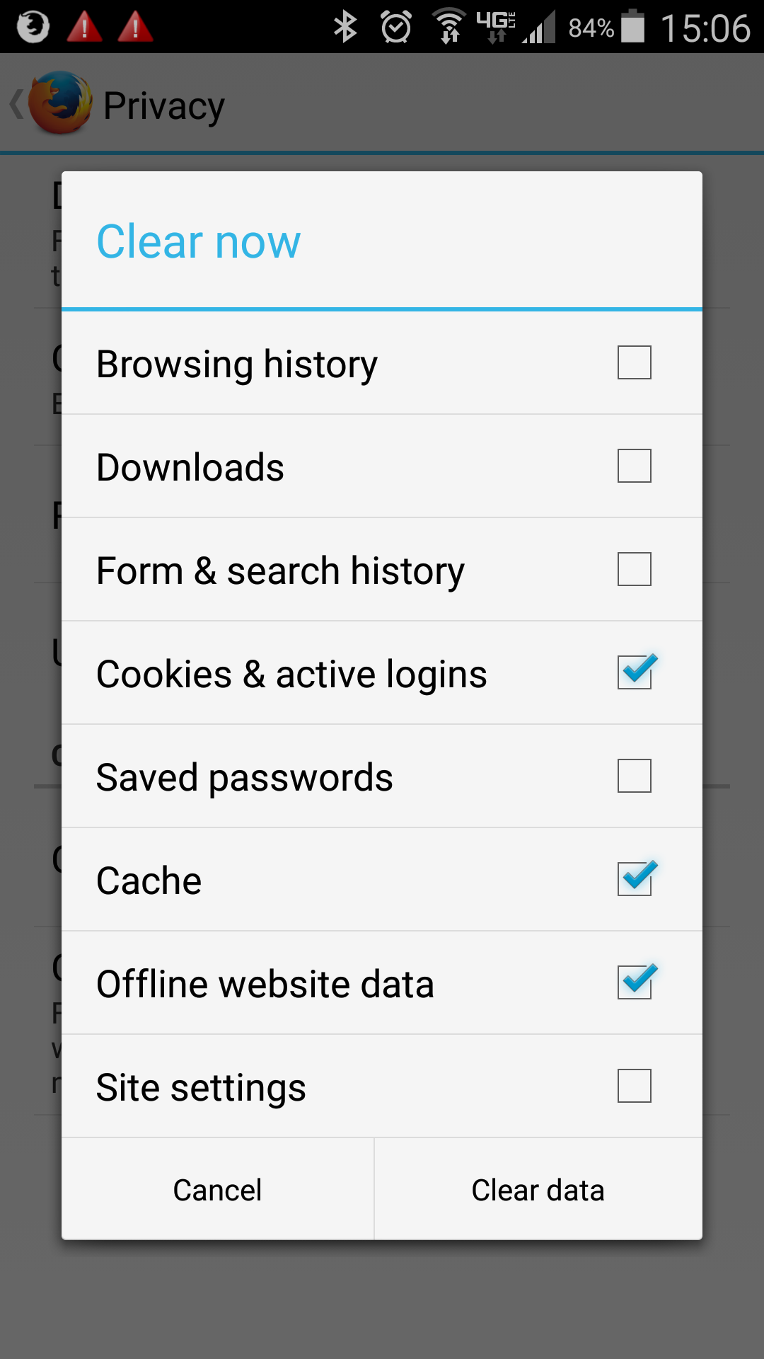 what is clear cookies and data