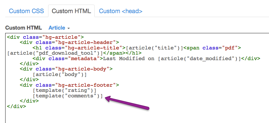 Add comments to articles knowledgeowl support copy and paste the comment merge code into your article html under custom html article maxwellsz
