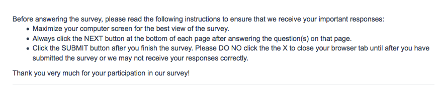 Additional Survey Information
