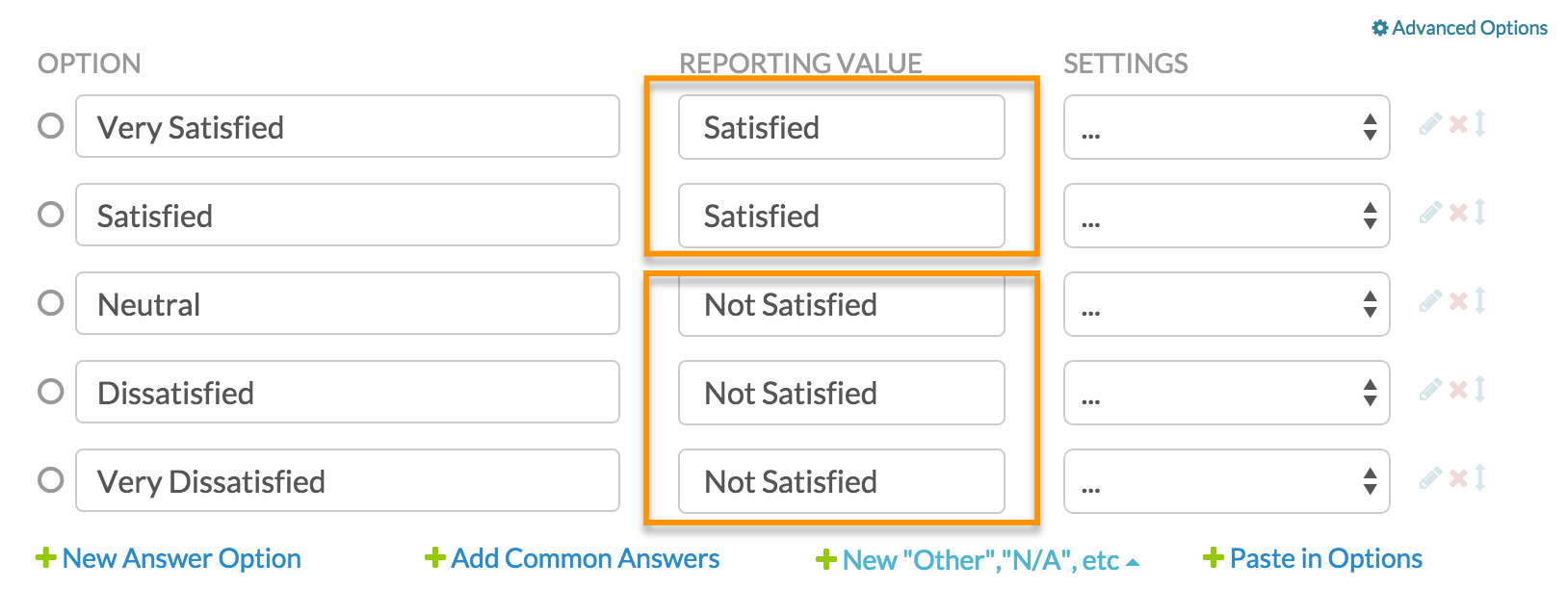 top box or top or box reporting surveygizmo help when you are ready to report on your results the legacy summary report will default to using the option title instead of the reporting value