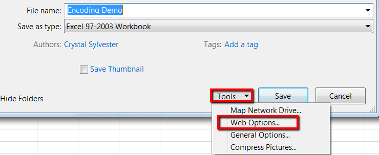 Tools > Web Options