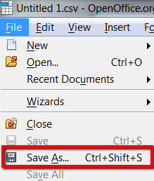 Open Office - Save As