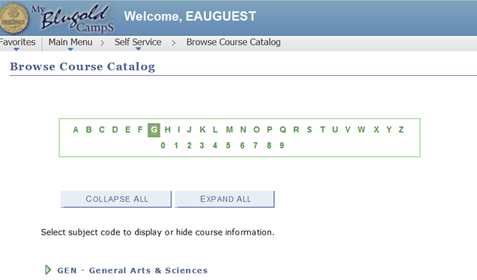 browse course catalog