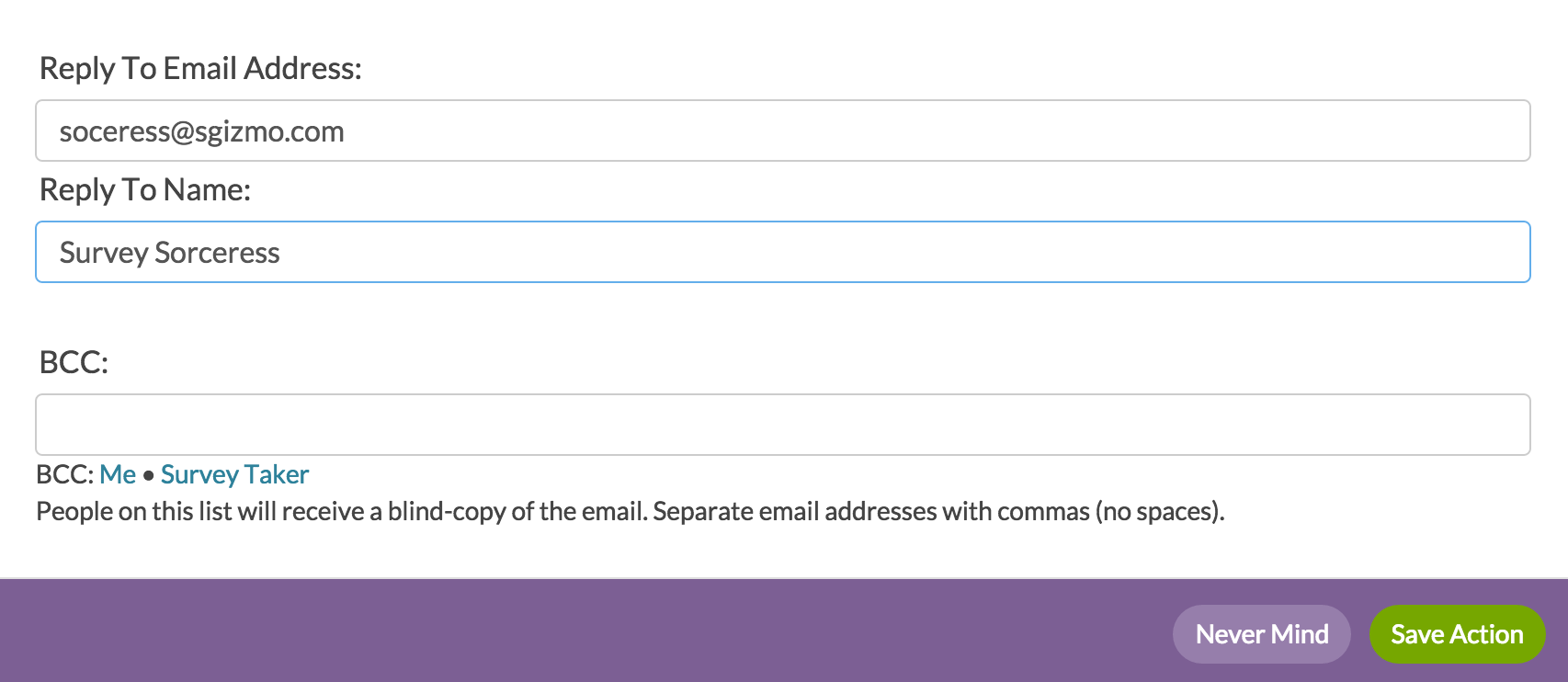 send email action send an autoresponse email surveygizmo help to ensure your emails get where they are going we recommend leaving the sender s email address as noreply surveygizmo com and instead use the reply to email
