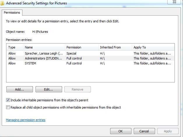 advanced security settings for pictures