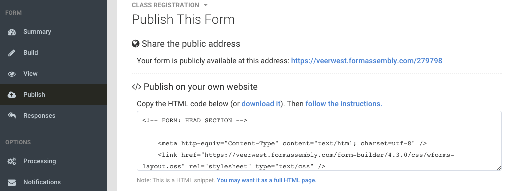Publish With An Iframe Formassembly Resource Center